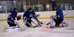 Coach Jim working with Tahoe goalies