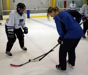 Tiffany gets some feedback from Coach Jill at Pittsburgh camp